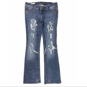 Decree Boot Cut Distressed Ripped Jeans